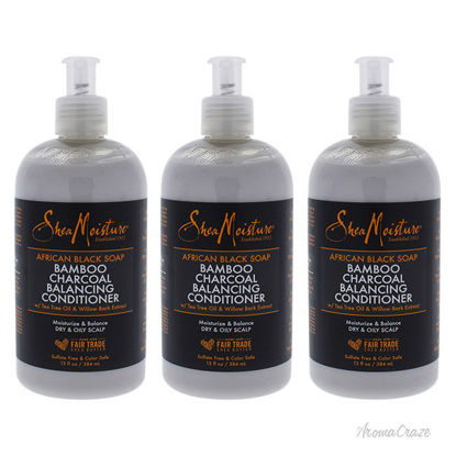 Picture of African Black Soap Bamboo Charcoal Deep Balancing Conditioner by Shea Moisture for Unisex - 13 oz Conditioner - Pack of 3