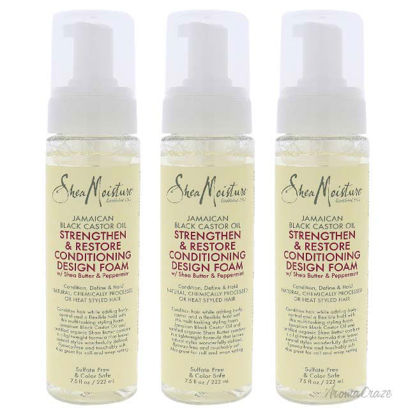 Picture of Jamaican Black Castor Oil Strengthen and Restore Conditioning Design Foam by Shea Moisture for Unisex - 7.5 oz Foam - Pack of 3