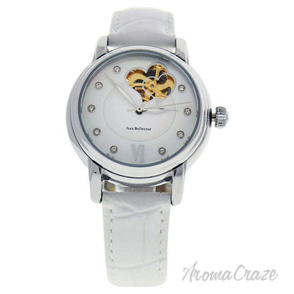 Picture of REDM3 Silver/White Leather Strap Watch by Jean Bellecour for Women - 1 Pc Watch