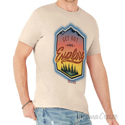 Picture of Men Crew Tee Get Out And Explore Beige by DelSol for Men 1 Pc T Shirt (2XL)