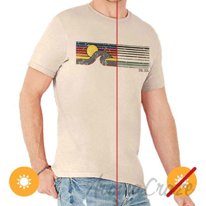 Picture of Men Crew Tee Sunset Wave Beige by DelSol for Men 1 Pc T Shirt (YXS)
