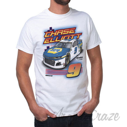Picture of NASCAR Mens Classic Crew Tee Chase Elliot 1 White by DelSol for Men 1 Pc T Shirt (S)