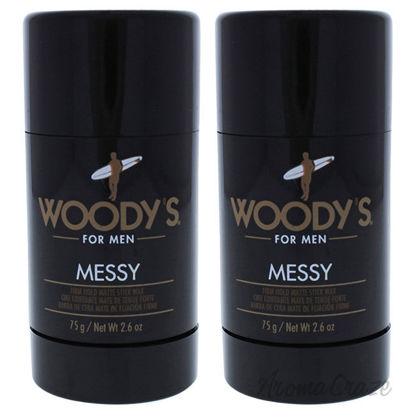 Picture of Messy Firm Hold Matte Stick Wax by Woodys for Men 2.6 oz Deodorant Stick Pack of 2