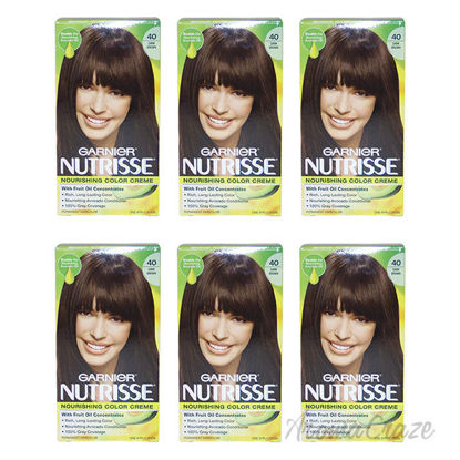 Picture of Nutrisse Nourishing Color Creme - 40 Dark Brown by Garnier for Unisex - 1 Application Hair Color - Pack of 6