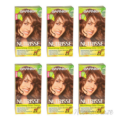 Picture of Nutrisse Nourishing Color Creme - 535 Medium Golden Mahogany Brown by Garnier for Unisex - 1 Application Hair Color - Pack of 6