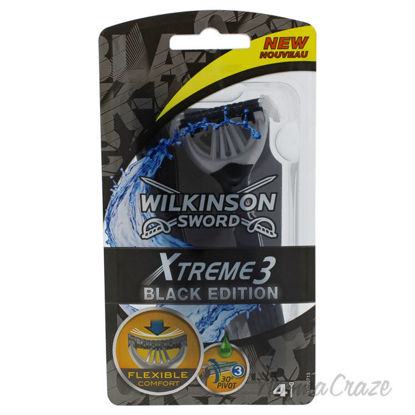 Picture of Xtreme3 Black Edition Disposable Razors by Wilkinson Sword for Men 4 Count Razor