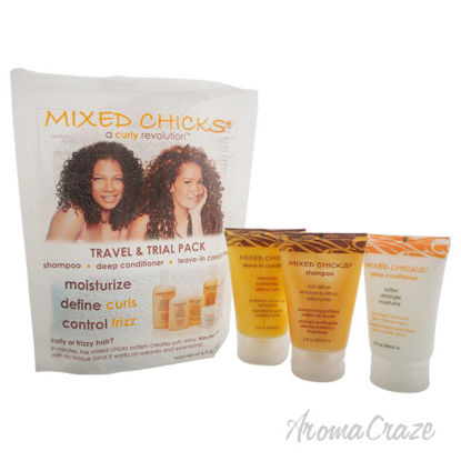 Picture of Travel Trial Pack by Mixed Chicks for Unisex 3 Pc Kit 2oz Shampoo, 2oz Deep Conditioner, 2oz Leave In Conditioner