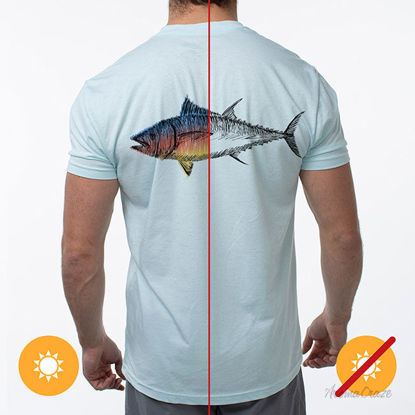 Picture of Men Classic Crew Tee Big Fish Ice Blue by DelSol by Men 1 Pc T Shirt (2XL)