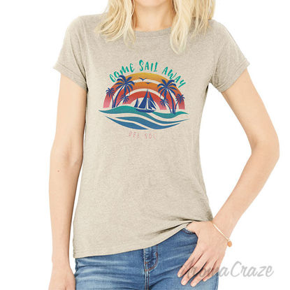 Picture of V Neck Tee Anchors Away by Delsol for Women 1 Pc T Shirt (XXL)
