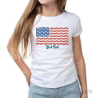 Picture of Classic Crew Tee Tropical Americana White by DelSol for Women 1 Pc T Shirt (Medium)