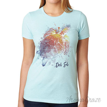 Picture of Girls Crew Tee Turtle Splash Ice Blue by DelSol for Women 1 Pc T Shirt (Small)