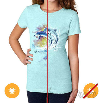 Picture of Junior Crew Tee Watercolor Dolphins Ice Blue by DelSol for Women 1 Pc T Shirt (Large)