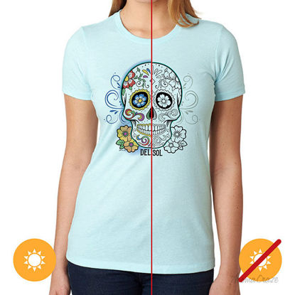 Picture of Day of the Dead T Shirt Ice Blue by Delsol by Unisex 1 Pc T Shirt (Medium)