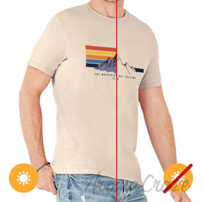 Picture of Men Classic Crew Tee Mountain Calling by DelSol for Men 1 Pc T Shirt (Small)