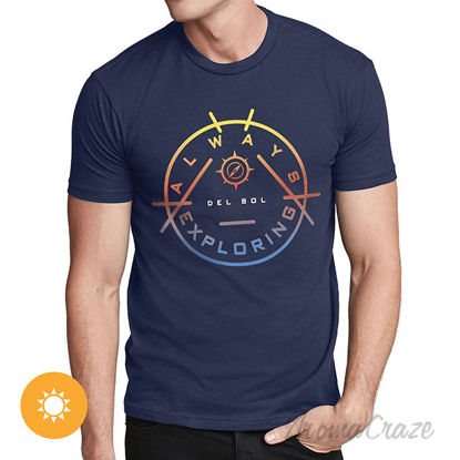 Picture of Men Crew Tee Always Exploring Indigo by DelSol for Men 1 Pc T Shirt (Small)
