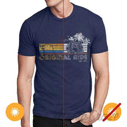 Picture of Men Crew Tee Original Ride Indigo by DelSol for Men 1 Pc T Shirt (Small)