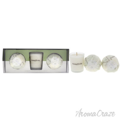 Picture of Light Candle Set Lemongrass and Bergamot by Aromaworks for Unisex 3 Pc 2.65oz Candle, 2 Pc Mini AromaBomb
