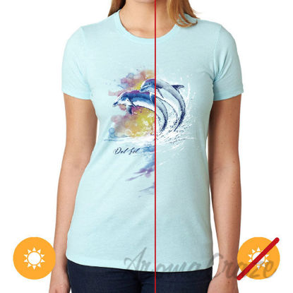 Picture of Girls Crew Tee Watercolor Dolphins Ice Blue by DelSol for Women 1 Pc T-Shirt (YL)